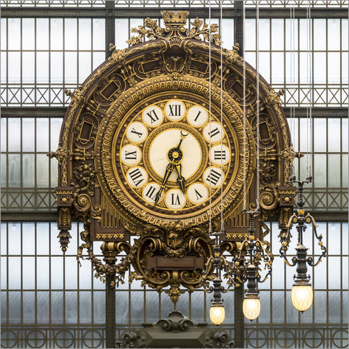 Muursticker Big clock at the Musee d'Orsay in Paris, France