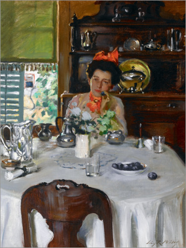 Premium poster Woman at a table