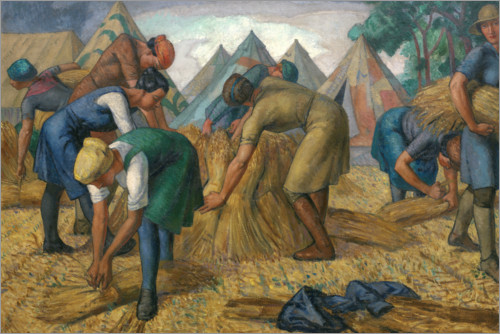 Premium poster Farm workers in a flax field