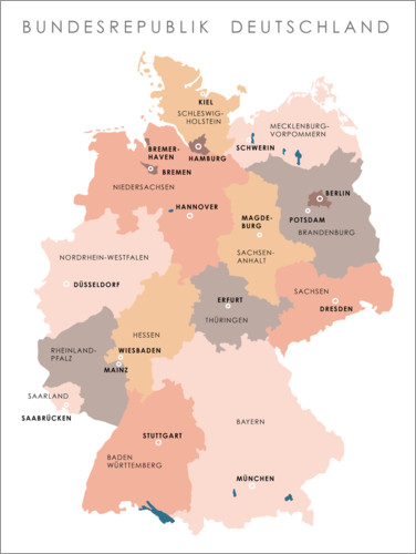 Premium poster Federal states and capital cities of the federal republic of Germany