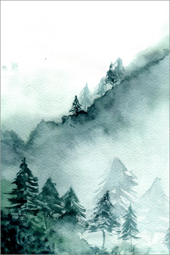 Premium poster Abstract Forest in Mountains