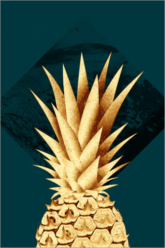 Premium poster Pineapple on a green background