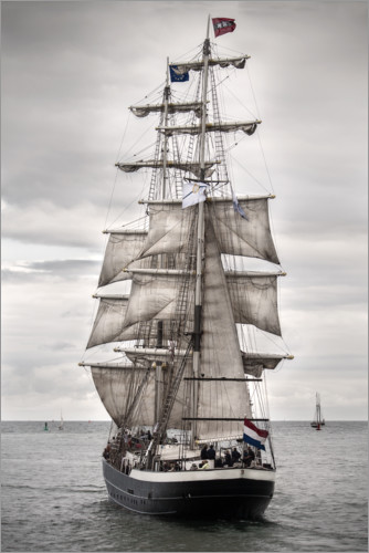 Premium poster Old sailing ship at the coast