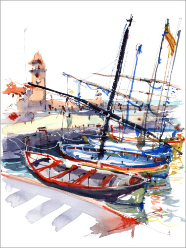 Premium poster Boats in Collioure, France