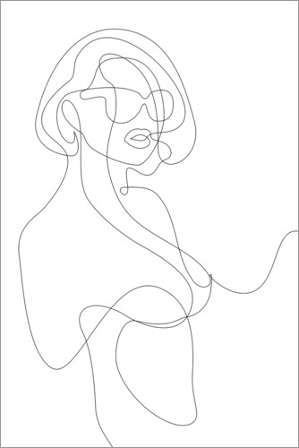 Premium poster Woman with sunglasses - lineart