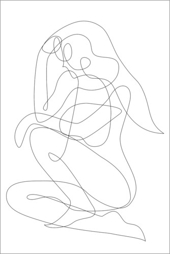 Premium poster Thinking woman - lineart