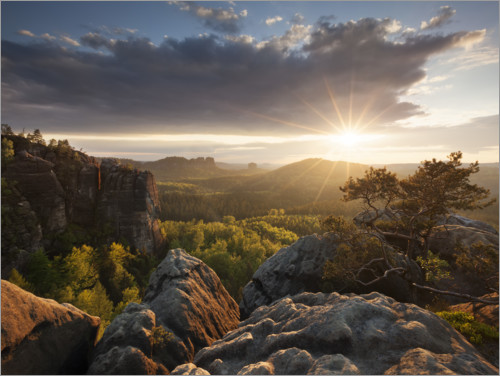 Premium poster Sunset in the Elbe Sandstone Mountains