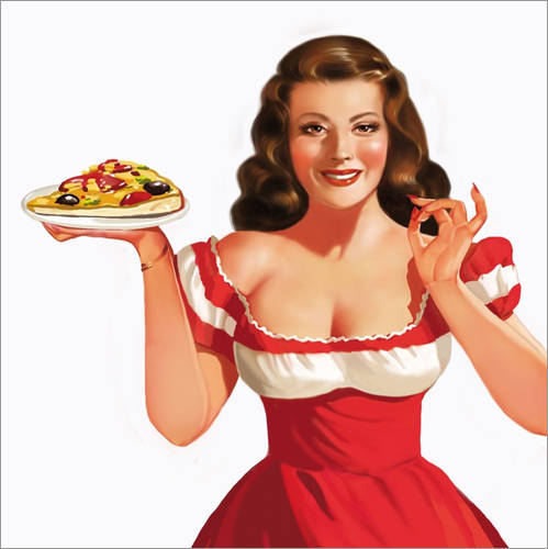 Muursticker the girl with a pizza