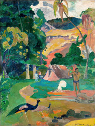 Canvas print  Landschap met pauwen - Paul Gauguin