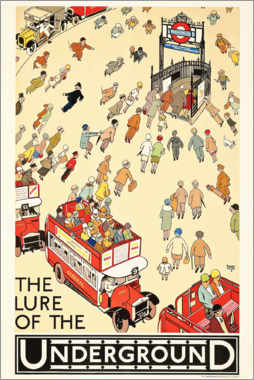 Aluminium print  The Lure of the underground - Alfred Leete