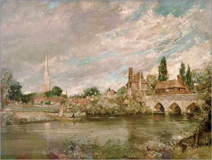 Muursticker  Harnham Bridge and Salisbury Cathedral - John Constable