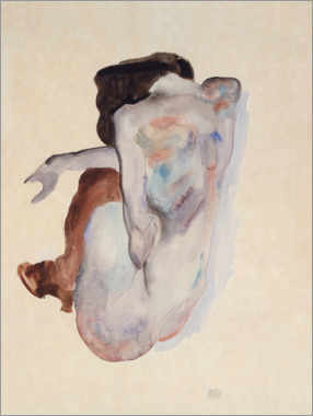 Acrylglas print  Crouching Nude in Shoes and Black Stockings, Back View - Egon Schiele