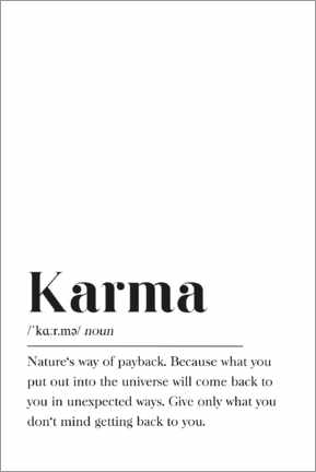 Acrylglas print  Karma Definition (Engels) - Pulse of Art