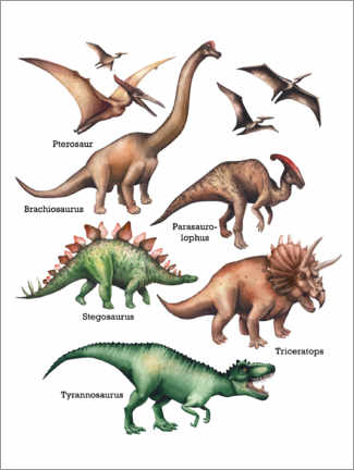 PVC print  The names of the dinosaurs