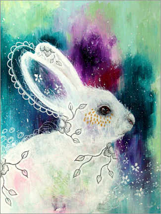 Canvas print  Enchanted whisperings - whimsical rabbit - Micki Wilde
