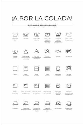 Aluminium print  Washing and care symbols (Spanish)
