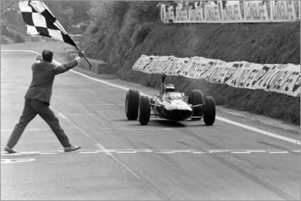 Acrylglas print  Jim Clark takes the chequered flag, French GP 1965