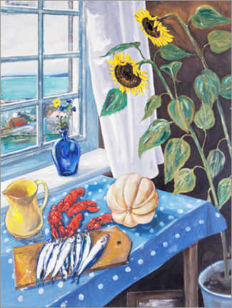 Canvas print  Still life with sunflowers and crayfish - Per Månsson