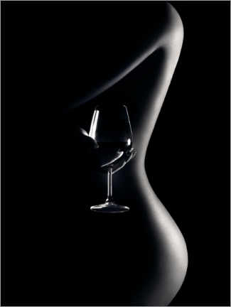 Canvas print  Nude with wine glass - Johan Swanepoel