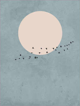 Acrylglas print  Bird migration to full moon - Finlay and Noa