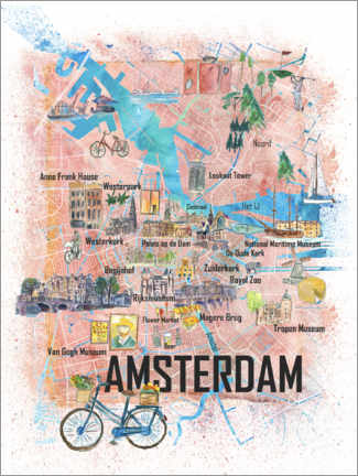 Premium poster Amsterdam city map