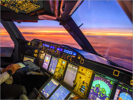 Acrylglas print  A380 cockpit at dusk - Ulrich Beinert