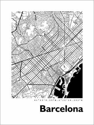 PVC print  Map of Barcelona - 44spaces