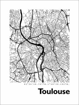 PVC print  Map of Toulouse - 44spaces