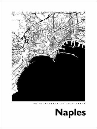 Hout print  Map of Naples - 44spaces