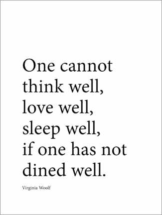 Canvas print  Dine well - Virginia Woolf quote - Finlay and Noa
