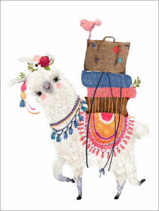 Hout print  Llama with luggage - Kidz Collection