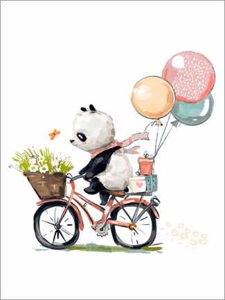 Muursticker  Panda op de fiets - Kidz Collection