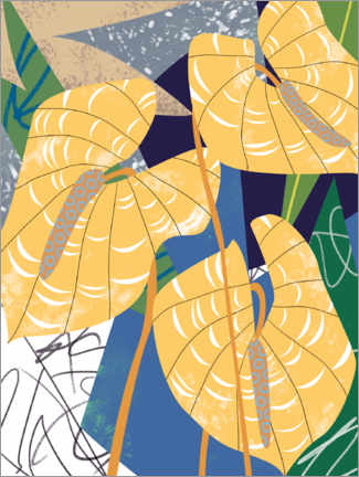 Muursticker  Pointed leaves in the wind - Melissa Wang