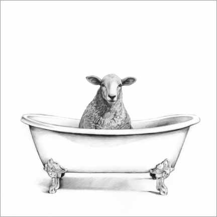 PVC print  Sheep in the tub - Victoria Borges