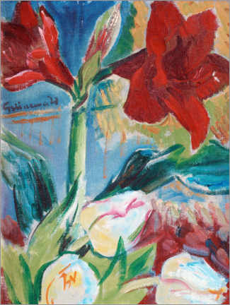 Acrylglas print  Still life with tulips and red belladonna lily - Isaac Grünewald