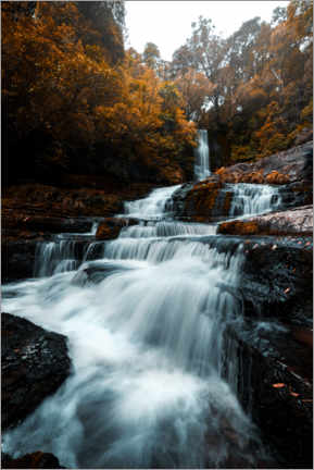Premium poster Waterfall in the fall