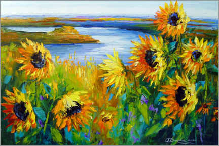 Canvas print  Sunflowers on the river - Olha Darchuk
