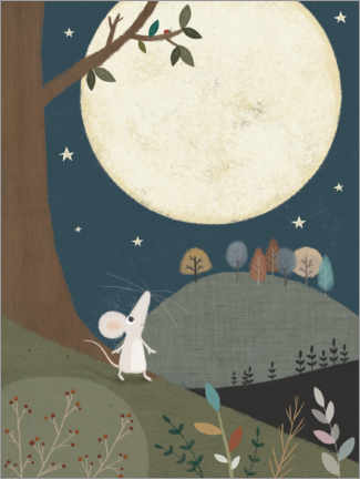 Acrylglas print  The little mouse and the moon - Lucy Barnard