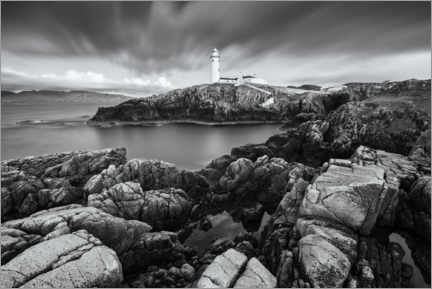Hout print  Lighthouse on the rocky coast - The Wandering Soul