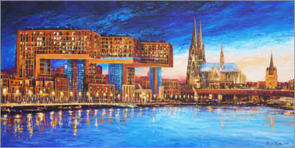 Gallery print  Cologne crane houses at night - Renate Berghaus