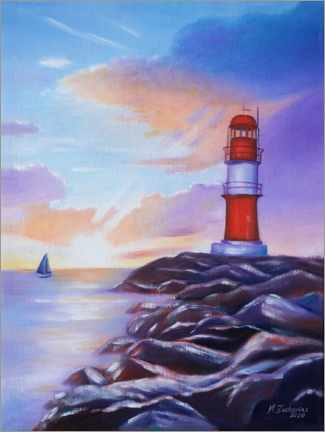 Acrylglas print  Sunrise at the lighthouse - Marita Zacharias