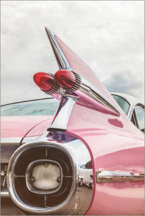 Hout print  The pink American classic car - Martin Bergsma