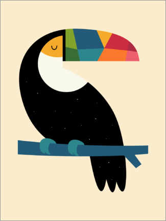 Hout print  Rainbow Toucan - Andy Westface