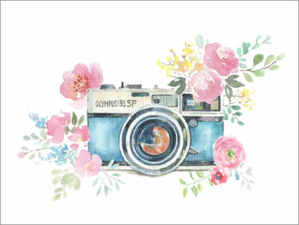 Acrylglas print  Vintage camera with flowers - Kidz Collection