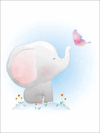 Acrylglas print  Elephant and butterfly - Kidz Collection