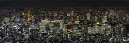 Hout print  Tokyo at night - André Wandrei