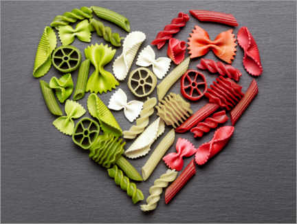 Acrylglas print  Pasta heart with Italy flag colors - pixelliebe