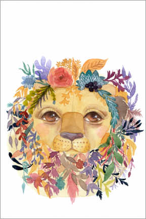 Premium poster Lion with flowers