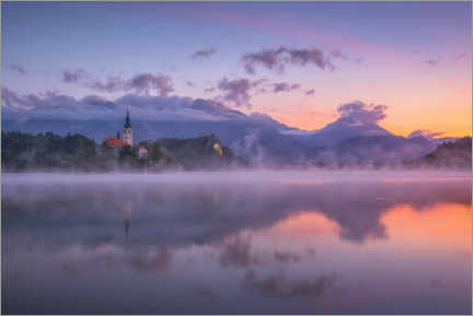 Acrylglas print  Dawn on Lake Bled - André Wandrei