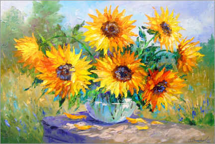 Canvas print  Bouquet of sunflowers in nature - Olha Darchuk